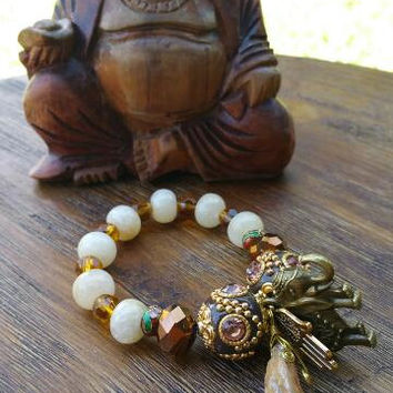 Brass Elephant Charm/Precious Stone Pendant/Yellow Jade/Gold Honey Bracelet