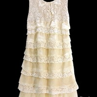 Pearl Vintage Lace Crochet Sweet Romantic Ruffled Frill Layer Short Dress