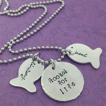 Hooked for life-- Fishing necklace//Couples keychain/necklace --Husband gift