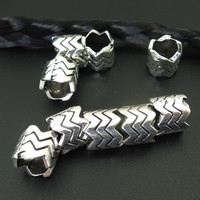 BIG hole Wave Antique Silver Metal Zinc dreadlock beads