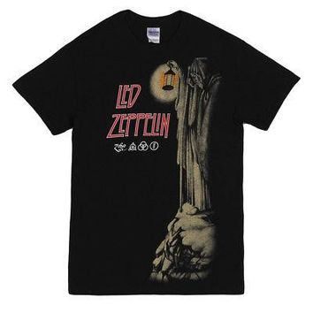 Led Zeppelin Hermit Four Symbols Licensed Adult Unisex T-Shirt - Black