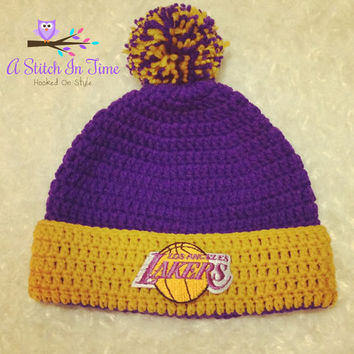 NBA Beanie/Hat with trim and Pom Pom Photo Prop for any basketball team of your choice (Los Angeles Lakers) Newborn - Adult Size