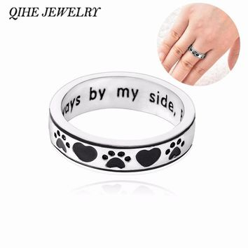 "QIHE JEWELRY Personalised Engraved ""Always by my side,Forever in my heart"" Dog Pawprint Wrap Ring Pet Memorial Dog Lover Gift"