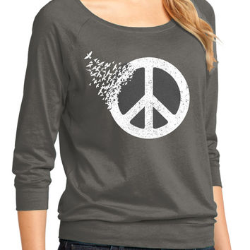 Peace Sign t-shirt, Ladies , Gift For Her, Peace Love, Hippie, Coexist,Hipster,Dove