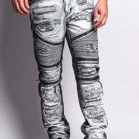 Biker Distressed Washed Slim Jeans DL1010 - L