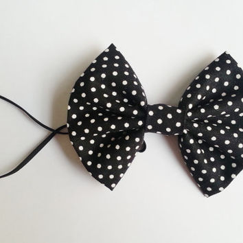 Black Polka dot Headband, Small Hairbow Headband, Toddler Headband, Baby Headband, Spring Headband, Minnie Mouse Inspired