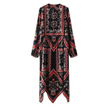 Ethnic Location Flower Print Buttons O neck Midi Long Dress 2018 New Woman Asymmetrical hem Long sleeve Dresses Femme Black