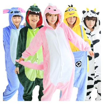 Wholesale Unicorn Stitch Panda Unisex Flannel Hoodie Pajamas Costume Cosplay Animal Onesuits Sleepwear For Men Women Adults