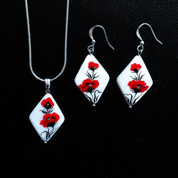 Poppies On The Snow. Hand painted earrings and pendant