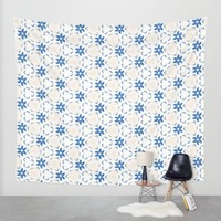 Acrylic Blue Floral Triangles Wall Tapestry by Doucette Designs