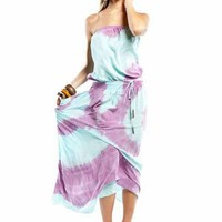 Gypsy 05 Lulu Tube Maxi Dress in Lavender / Turquoise