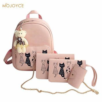 4Pcs/Set Small Women Backpacks Mochilas female School Bags For Teenage Girls Black PU Leather Women Backpack Shoulder Bag Purse