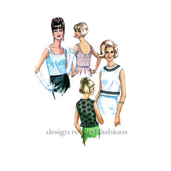 1950s Women's SLEEVELESS Lined BLOUSES w/ Side Zipper Deep Scoop Back Round Jewel Scoop Neck Bust 32 Simplicity 6242 Vintage Sewing Patterns