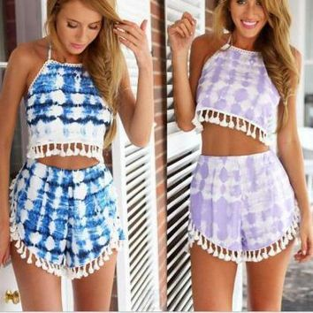 TASSEL PRINTING CASUAL SEXY TWO SUIT SHORTS BACKLESS MIDRIFF