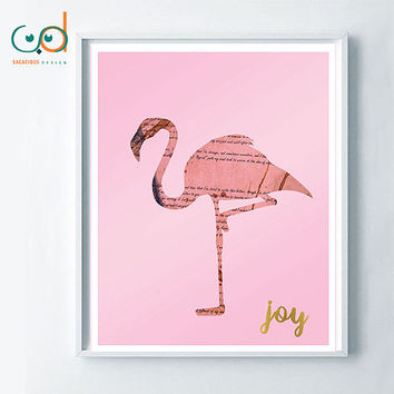 Flamingo Printable Digital Art, Home Decor Design Pink Flamingo, Flamingo wall decor office print, Gift Idea, Positive Flamingo print art