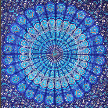 Blue and Green Mandala Tapestry, Indian Hippie Wall Hanging , Bohemian Bedspread, Mandala Cotton Dorm Decor Beach blanket