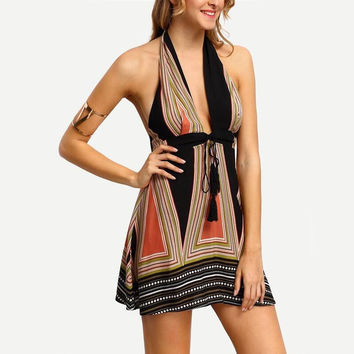 Hot Sale Deep V Irregular Print Backless One Piece Dress [8096401351]