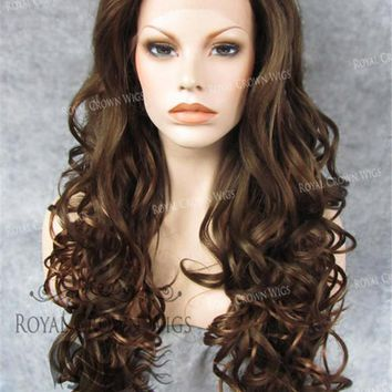 """26"""" Heat Safe Synthetic Lace Front in Curly Texture """"Calypso"""" in Brown/Golden Blonde Mix"""