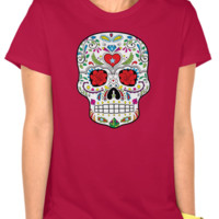 Lady's Sugar Skull on Burgundy T-Shirt