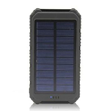Solar Charger Battery Matone® Portable 10000mAh Solar Battery Charger Rain-Resistant Shockproof, Dual USB output Solar Powered Phone Charger for iPhone, iPod, iPad, Samsung, HTC, GPS & Gopro Camera (Black)