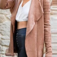 Pink Faux Suede Lapel Zip Cuff Long Sleeve Coat