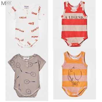 2017 New BOBO CHOSES Baby Brand Bodysuit Tiny Cottons Baby Clothes Summer Sleeveless Jumpsuit Infant New Born Baby Clothes BEBE