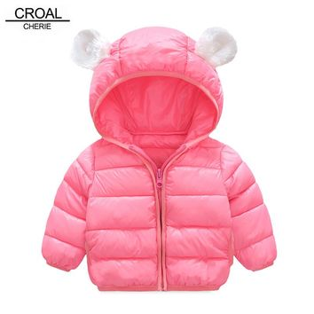 CROAL CHERIE 60-120cm Cute Ear Children Outerwear Hooded Baby Winter Jackets Infant Coats Light Weight Thicken Warm Snowsuit