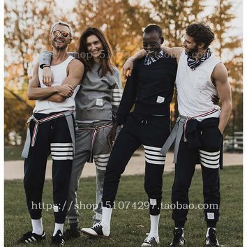 new fahion Best Version TB mens joggers striped Quality Drawstring sports pants casual Embroidery sweatpants trousers pantalon h