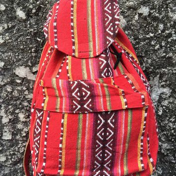 Boho Tribal Woven Backpack Festival Hippie Colorful Aztec Style Napali fabric Travel School bag Unique Handmade gift men women Burning man