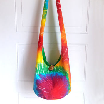 Tie Dye Hobo Bag, Sling Bag, Bright, Colorful, Psychedelic, Boho Bag, Spring, Summer, Hippie Purse, Crossbody Bag
