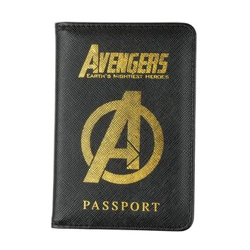 DIKEDAKU Rfid Blocking Passport Holder Men Credit Cards Protection Avengers Pu Leather Travel Cover on The Passport Pouch Unisex