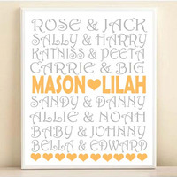 Movies Famous Couples Personalized Names Typography Print: 8x10 or 11x14 Wedding Engagement Gift, Gray & Orange