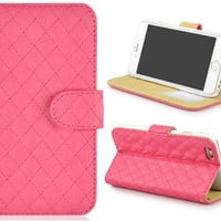 """Angibabe Wallet Design Faux Leather Flip Case with Mount Stand & Credit Card Slots for 4.7"""" iPhone 6 (Rose Red)"""