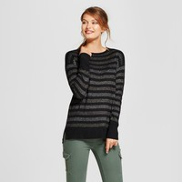 Women's Shine Stripe Crew Neck Luxe Any Day Pullover - A New Day™ Black