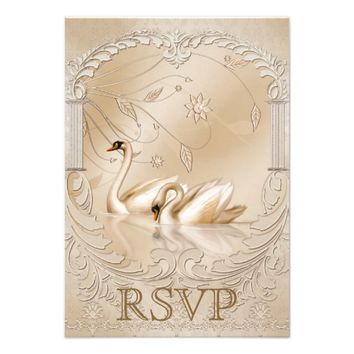 Elegant Golden Swans Ornate Formal Wedding RSVP