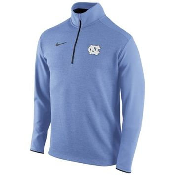 Mens North Carolina Tar Heels Nike Carolina Blue Football Coaches Sideline Half Zip Knit Performance Jacket