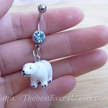 Lovely Cute Polar Bear Charm Belly Button Ring Button Ring, Belly Button Ring, Belly Ring, Body Jewelry, Belly Button Jewelry.