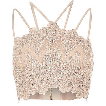 Light pink cornelli bralet - crop tops / bralets - tops - women