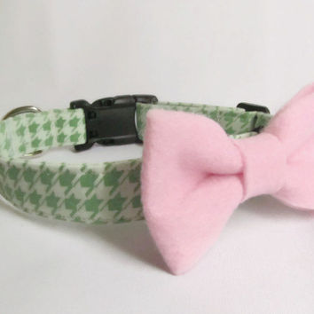 Designer Dog Collar and Bow Tie CUSTOM - Mint Green Houndstooth and Light Pink Bow - cute dog collar, bowtie