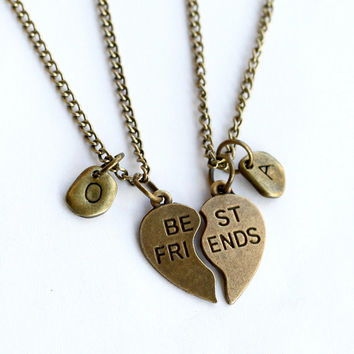 best friends initial Necklace,  antique brass, best bitches Necklace, broken Heart Pendant , best friend Gift, friendship gift