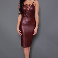 Club Dress Ladies PU Leather Dress Sleeveless Sexy Party Bodycon Backless Clubwear Midi Dress Red