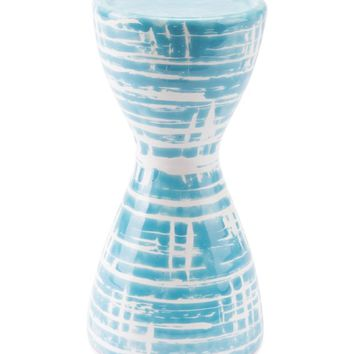 Washed Candle Holder Blue & White