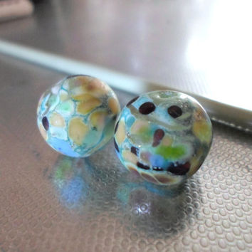 Lampwork Beads, Handmade Etched Glass Beads, Handmade Supplies, Matte Finish Lampwork Jewelry Supplies in Spring Fashion