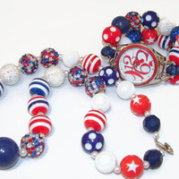 Fourth of July Watch and Matching Necklace Set, 4th of July Jewelry, Bubblegum Watch and Necklace Set, Celebrate Freedom Necklace and Watch