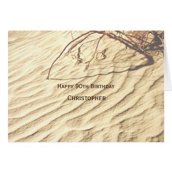 Personalized Happy 90th Birthday, Ripples in Sand Card
