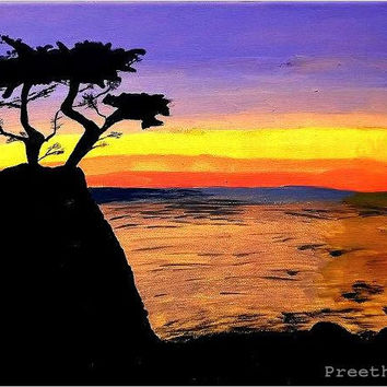 Fine art Print Wall art Decor Lone cypress tree California Art California souvenir Valentine gift Travellers gift Nature Seascape painting