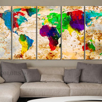 "XLARGE 30""x 70"" 5 Panels 30""x14"" Ea Art Canvas Print World Map Original Watercolor texture Old Wall Home Office decor (Included framed 1.5"" depth)"