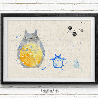 Totoro Watercolor Art Print, Watercolor Poster, Kids Decor, Nursery Art, Gift, Wall Art, Home Decor Not Framed, Buy 2 Get 1 Free