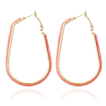 Beaded U-Shape Gold Hoop Earrings