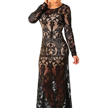 Ark & Co: Meet Me At Midnight Maxi Dress: Black/Nude - What's New